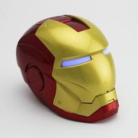 Retail new 2014 mini LED light Iron Man shape Speaker Support USB / U disk / FM Radio/ TF Card / PC MP3 /MP4 AB114 free shipping