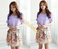 2014 New Top Quality Women's Charming Summer Dresses Crewneck Chiffon Short Sleeve Floral Casual Dress 3 Color b4 SV004309