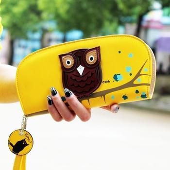 Бесплатная доставка симпатичные сова стереоскопический печать молнии с длинным женщин бумажник дамы клатчи с коротким изменение кошельки , бумажники , держатели