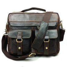 100% Crazy horse leather men bags Europe men business men's briefcase vintage bag Shoulder Messenger bags men's travel bag 2015(China (Mainland))