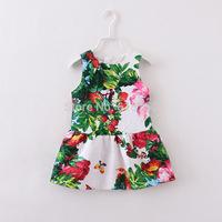 2014 autumn&winter new brand girls floral dress, jacquard weave children princess dresses,Italy designer kids girl dress, 2-12Y