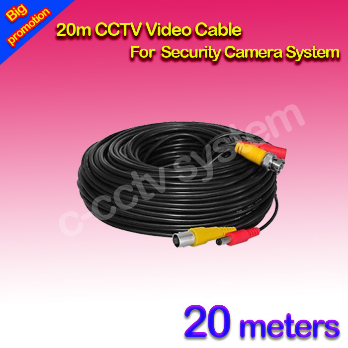 65ft(20m) BNC Video Power Siamese Cable for Surveillance CCTV Camera Accessories DVR Kit(China (Mainland))