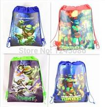 20 unids Teenage Mutant Ninja Turtles niños del morral del lazo, compras / escuela / viajes / TMNT gimnasia bolsas, tela impermeable(China (Mainland))
