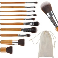 Professional !10 pcs Soft Synthetic Hair Make Up Tools Kit Cosmetic Beauty Makeup Foundation Brush Beige Sets b7 SV004426