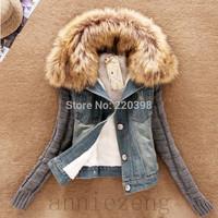 2015 new women winter slim yarn large fur collar lamb cotton denim outerwear jeans women's  Autumn short denim jacket 990B