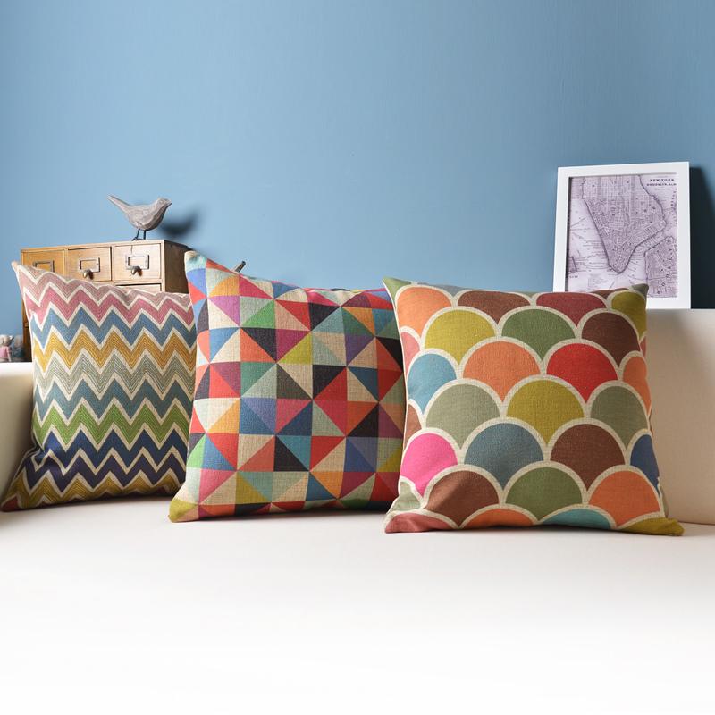 "18"" Ikea geometric throw pillow covers, decorative sofa cushion/capa para almofada pillowcases(China (Mainland))"