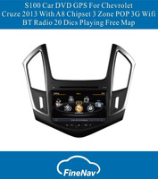 A8 Chipset 3G Wifi S100 Car DVD GPS  With 3 Zone POP BT Radio 20 Dics Playing Free Map For Chevrolet Cruze 2013
