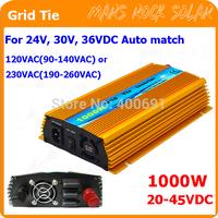 1000W 20V-45VDC Grid tie micro inverter,  workable for 1200W, 24V, 30V, 36V solar panel or wind power, AC90V-140V or 190V-260V