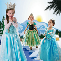 1 Piece 2014 Anime Movie Frozen Queen Girls Deluxe Elsa Snow Queen Fancy Dress Costume Princess Child Toddler Pixar Movie