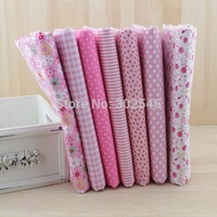 Cotton Farbic No Repeat Design Pink Serier Patchwork Fabric Fat Quater Bundle Sewing For Fabric 7pieces/lot 50cm*50cm A1-7-1