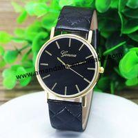 100pcs/lot wholesale hot sale grid leather strap watch Fashion GENEVA  wristwatch  men women fashion dress watches
