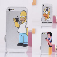 1PCS 2014 top fasion transparent Matte Plastic hard cases For apple iphone 4 4S simpsons case the homer simpson gasp logo clear