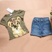 Retail 2014 new brand girls clothing sets children girl summer casual clothe kids cartoon t-shirt+denim short suit baby outfit