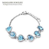 Neoglory Auden Rhinestone Fashion Heart Love Bangles & Bracelets For Women Champange Gold Plated Jewelry Accessories 2014 New