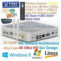 HD Graphics 4400 Haswell Intel Dual Core I5 Fanless Smart Mini PC With 8G Ram 128G SSD 500G HDD ITX Motherboard Msata 3 Thin PC
