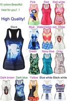 2014 Summer Womens Ladies Punk Style 3D Painting Sexy Stylish Camisole Pattern Vest Tanks Tops T Shirt 15 Colors b6 SV004586