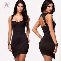 New 2014 Summer Women Sexy Dresses Vestido Wrap Front Hem Bodycon Mini Dress Black/ Mint  LC21372
