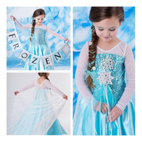 New 2014 frozen elsa dress kids girls princess dress,fashion girls long sleeve  dresses with cape, Frozen elsa costume dresses