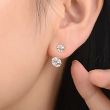 2014 Brand New FASHION 18k gold/silver spherical Crystal Flower Stud Earrings for Women