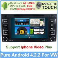Pure Android 4.2.2 VW Touareg DVD Player GPS Navi Pc Radio Dual Core 1.6GHz Capacitive Screen Built-in WiFi DVR Support 3G OBDll
