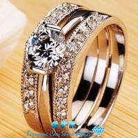 Luxury 1 Carat Engagement Wedding Ring Set Bridal Set For Women CPP Forever Brilliant Lab Grown Diamond