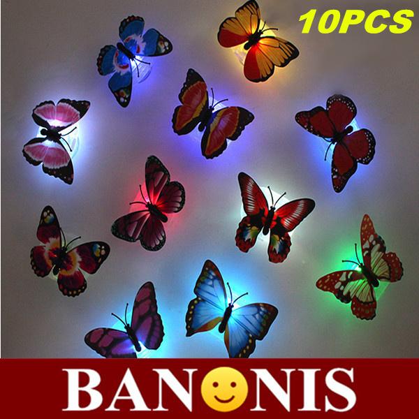 Fiori luminosi, farfalla luce notturna, mandrino e adesivi, fiori piccoli lampada da notte, applique, illuminazione di interni, giocattoli per childre