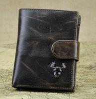 High Quality Brand Vintage Designer Genuine Oil Wax Leather Cowhide Men Short Bifold Wallet Purse Card Holder With Coin Pocket