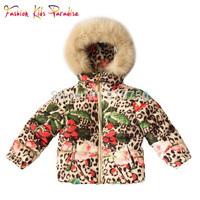 Children Down & Parkas Christmas Girls Down Jacket Leopard Pattern Faux Fur Hooded Kids Winter Outwear Girls Outerwear Coats