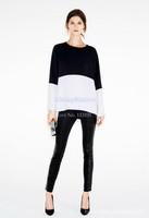 Big Discount Women's Girl Summer Long Sleeve Black White Splicing Color Chiffon Loose Blouse Tops B16 13007