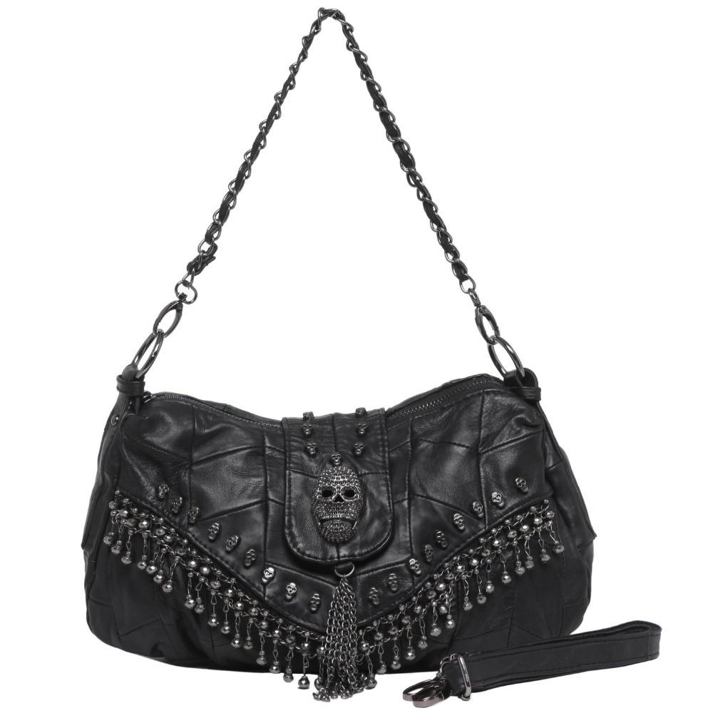 AliExpress.com Product - EcoCity Women Lady Urban Shoulder Handbag Skull Studs Cool Punk Goth Motorcycle Bag Real Leather Handbag Crossbody Bags HB0010