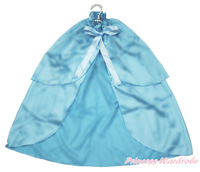 Snow Princess Elsa Light Blue Satin Cape Two Layer Party Costume Shawl Coat 1-8Y SH53