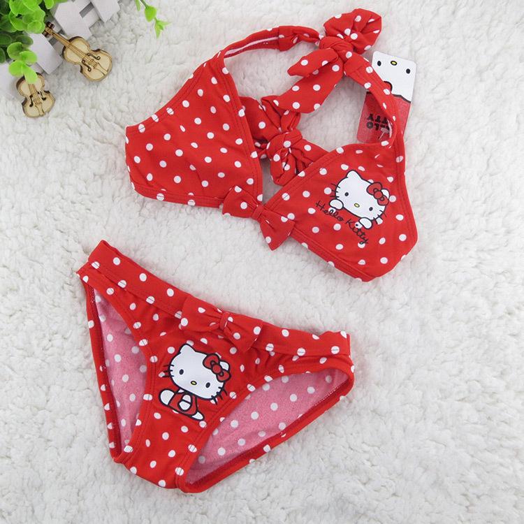 Baby girls Bikini swimwear two pieces Kid hello kitty swimsuit children biquini infantil biquines infantil meninas Amazing store(China (Mainland))