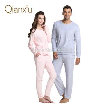 Qianxiu марка пижамы бамбуковые волокна пижамы свободного покроя с длинным рукавом ...