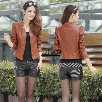 2014 Женщины Faux Leather Jacket Leather Короткий Jacket Jaqueta De Couro FeМиниno ...