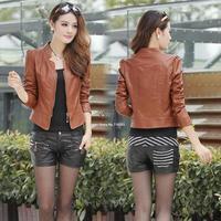 2014 New Fashion Spring Summer Casual Leather Jacket Zipper Autumn Winter Motorcycle Biker Jacket Women M-XXL B2 SV005548