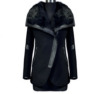 In stock new 2014 jacket women fashion winter coat plus size black turn down fur collar casual coat outerwear DFW011