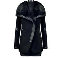 In stock new 2014 jackets women fashion winter coat women plus size black turn down collar casual fur coat outerwear DFW013