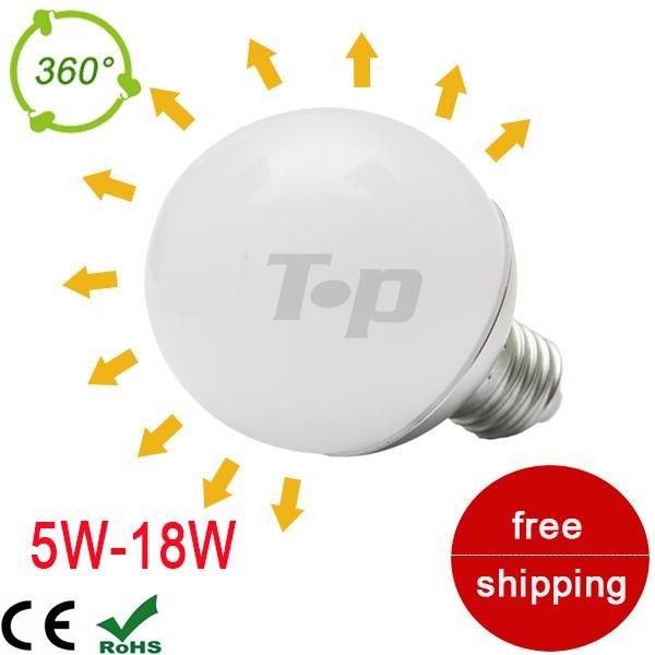 New 360 Degree LED Globe Bulb E27 SMD5730 LED global lamps 5W 9W 15W 18W 220V chandelier Light Warm/Cool white A60 A70 A80 A90(China