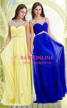 В наличии королевский синий желтый красный 2015 бесплатная доставка Cap рукавом кристалл шифоновое вечернее ну вечеринку платье длиной до пола длинные платья выпускного вечера