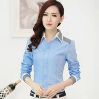 New Fashion Women Clothes Stripe Color Block Formal Shirt Female Work Wear Women's Long-Sleeve Shirts Slim Tops