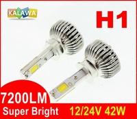 7200LM!!! H1 42W 4th Generation Auto car Led headlight fog lamp double COB chip super bright H7 9005 9006 GGG