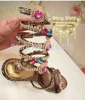 2014Manual original European big snake winding bind diamond clip toe blasting crack with flat sandals