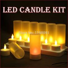 Free Shipping Rechargeable LED Candles Kit Flameless Luminous Charge Tea Light lamp 7 Colors Changing 12pcs/6pcs/4pcs Option(China (Mainland))