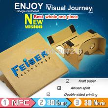 mejor calidad conjunto 1 pieza 2014 diy más nuevo google 1:1 cartón realidad virtual gafas de teléfono móvil +nfc gafas 3d etiqueta(China (Mainland))