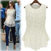 7 Colors New 2014 Fall Summer Women Dresses Lace Tops Chiffon Blouses 100% Cotton Sleeveless  Dress S 5XL