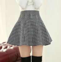 New 2014 Autumn Winter Short Skirts Woman High Waist Woolen Skirt Female Pleated Skirt For Woman