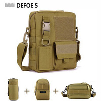 Tactical Gear Combo Bundle, Messenger Shoulder Crossbody Bag Tactical Gear + 3 Molle Small Pouches,4 Pieces in a Set Save 35%