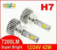 7200LM!!! H7 42W 4th Generation Auto car Led headlight fog lamp Double COB chip 360 degree super bright 6000K FREESHIPPING GGG