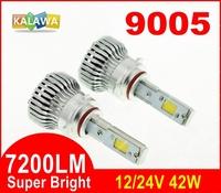 7200LM!!! 9005 42W 4th Generation Auto car Led headlight fog lamp Double COB chip 360 degree super bright 6000K FREESHIPPING GGG