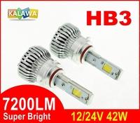 7200LM!!! HB3 42W 4th Generation Auto car Led headlight fog lamp Double COB chip 360 degree super bright 6000K FREESHIPPING GGG